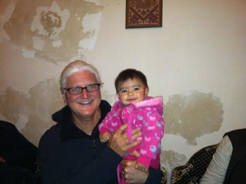 In the Old Town of Hebron being treated to Palestinian hospitality, and getting hugs from the darling Selina!